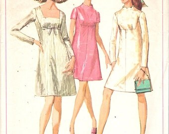 Simplicity 7898  1960s Misses A Line  Dress Pattern Funnel Square or Scallop Neck Shaped Yoke Womens Vintage Sewing Pattern Size 8 Bust 31