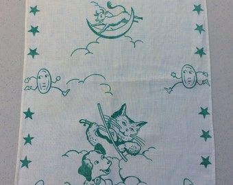 Vintage Towel Nursery Rhyme Hey Diddle Diddle Cat & the Fiddle