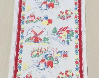Vintage Dutch Towel Windmills Couples & Tulips