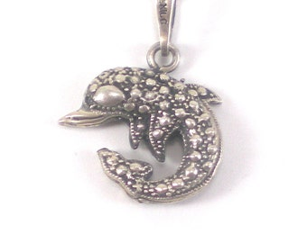 Dolphin Necklace Pendant Taxco Mexico Sterling Silver  Jewelry