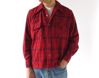 Red Plaid Shirt / Men's 70s Shirt / Men's Plaid Shirt / Medium M
