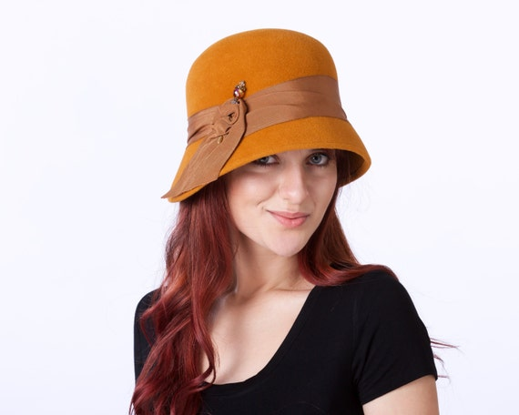 Cloche Hat Women's Hat Pumpkin Colored Hat Great Gatsby Hat 1920s Hat Flapper Hat Retro Hat Vintage Inspired Hat Jewel Mustard Color Hat