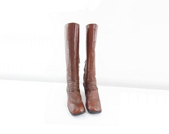 60s Boots Size 7 Vintage GoGo Boots 60s Mod Boots 1960s Go Go Boots Brown Leather Boots Mod 60s Boots, Go Go Boots Size 7 / 37.5