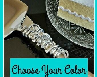 Custom choose your color wedding cake server knife set personalized Swarovski crystal beaded bridal shower party decor cake cutter ceremony
