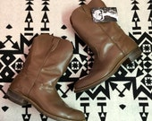Vintage Men's Short Leather Cowboy Boots Size 12 Chocolate Brown Southwestern Boots
