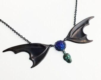 Dragon Bat Wing Necklace Large Oxidized Brass Necklace Creepy Spooky Goth Statement Jewelry
