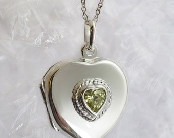 Green peridot Lockets, Birthstone Sterling Silver Locket -other stones avaiable