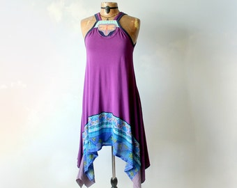 Funky Purple Dress Bohemian Gypsy Women's Boho Sundress Loose Flowing Style Stevie Nicks Dress Artsy Upcycled Mori Girl Fashion S M 'GRACIE'