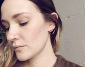 Curvature Earrings No. 1 .Golden Brass Earrings. Circle Studs. Post Earrings. Modern Shapes. Geometric Earrings. Horizon Earrings.