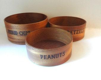 Vintage Set Of Teak Snack Bowls For Peanuts Pretzels And Potato Chips 1960s Mid Century Nesting Bowls