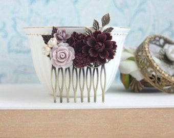Burgundy Wedding, Burgundy Red Hair Comb, Taupe Ivory Maroon Bridal Clip, Bridal Flower Hair Piece, Rustic Romantic Woodland Bridesmaid Comb