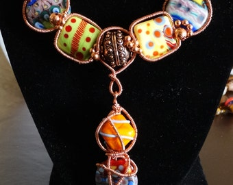 Copper and Lampwork necklace