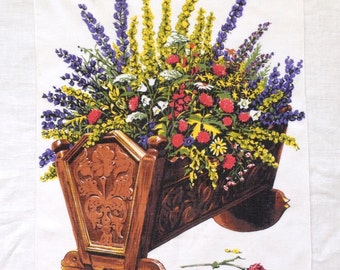 Linen Towel Flowers in Wood Cradle by Kreier