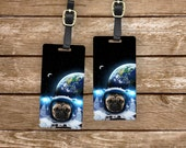 Luggage Tags Astro Pug in Space Set,  Personalized Metal Tags, 2 Tags Custom information on Backs Choice of Straps