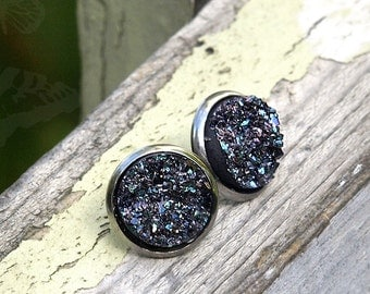 Gunmetal Grey Rainbow Faux Druzy Studs with Stainless Steel Posts, Gray Glitter Earrings, Minimalist