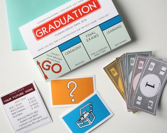Monopoly graduation card Funny Graduation card - Graduation game with Title Deed card chance card community chest and monopoly bills
