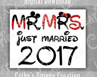 Mr and Mrs Mickey and Minnie Mouse Just Married 2017 Disneyland Disney World Printable Letter INSTANT DIGITAL DOWNLOAD