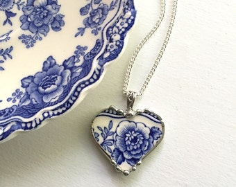 Recycled china broken china jewelry necklace heart pendant beautiful antique blue floral English transferware