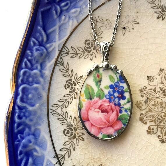 Broken china jewelry oval pendant necklace antique Rosalynde chintz pink rose blue forget me nots recycled china