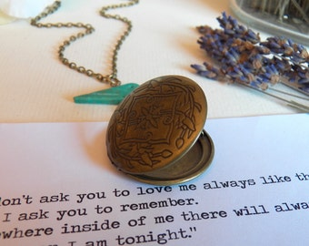 ON SALE - Vintage Style Gold Brass Round Locket Pendant Necklace, Handcarved Turquoise Gemstone Bird, Gold Brass Photo Locket, Jewelry