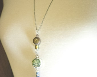 Blue Tassel Necklace, Mood Bead, Tassel Necklace, Long - 1NEB0013BL