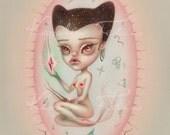 Sancta Bacteria - signed 8x10 Fine Art Print - Pop Surrealism lowbrow art by KarolinFelix - open edition, unframed