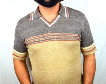 Vintage 1970s Kennington Striped Pullover Shirt