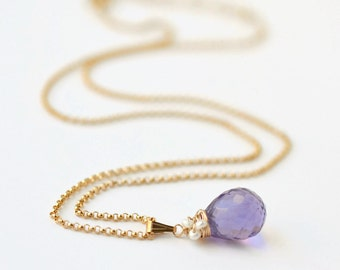 Amethyst Pearl Pendant Necklace / Gold Amethyst Necklace / Purple Gemstone Pendant / February Birthstone Necklace