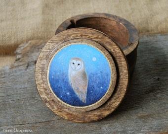 Barn Owl - Handpainted Wooden Box - Original Art