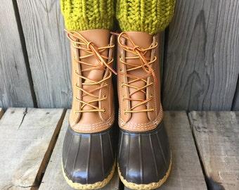 Chunky Wool Lemongrass Green Knit Boot Cuffs || Thick Boots Topper Faux Leg Warmers Accessory Peep Socks Crochet Fashion Girl Boy Men