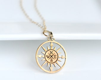 Graduation Compass Necklace - Grad Jewelry - College Graduation - Gold Compass Necklace - Gold Compass Pendant - Gold Compass Jewelry