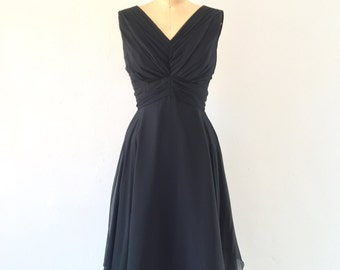 1950s Vintage Black Draped Silk Chiffon Cocktail Dress Sleeveless V-neck Full Skirt XS