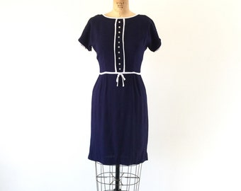 1960s Dress Vintage Mod Dress Navy Blue White Contrast Wiggle Day Dress XS