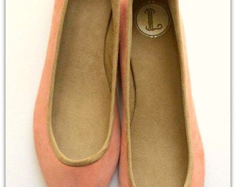 SALE - VIVIAN- Ballet Flats - Suede Shoes - 40- Blush suede available in different sizes