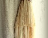 "Final pmt. Lisa M.....""Belle"" Rustic   Beach  Shabby French Champagne Tea Ivory Cream Vintage Inspired  Wedding Dress Altered Slip"