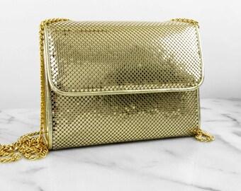 SALE // Whiting & Davis Gold Metal Mesh Shoudler Bag Purse Chain Strap Reflective Shiny Square Small Handbag