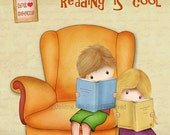 Reading is cool wall art print kids room art library wall decor book nook poster illustration drawing print love books quote art children