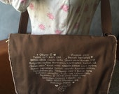 CLEARANCE ~ LAST ONE - Love Languages Messenger Bag - Cream Ink Screenprint on Sturdy Brown Canvas Messenger Bag - School Bag - Canvas Bag