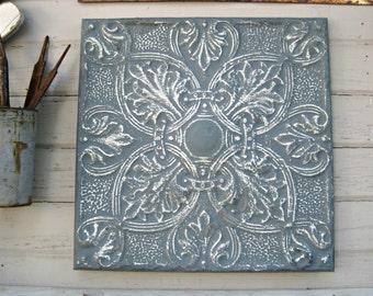 Vintage Ceiling Pressed Tin Tile. 2'x2' FRAMED Metal tile. Antique Architectural salvage, Blue metal wall decor. Vintage metal.