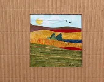 "SALE Fabric Landscape Collage Original ""Fields"""