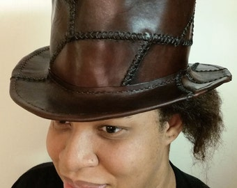 Patchwork Leather Top Hat