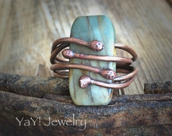 Seed Pod Rings, Red Creek Jasper, 7.25, Wire Wrapped Ring, Copper Rings, Jasper Jewelry, Primitive Rings, Primitive Jewelry, YaY Jewelry