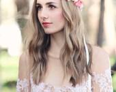 peach pink flower crown bridal headpiece bohemian wedding floral head wreath rustic hair accessory