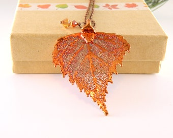 Copper Birch Leaf Pendant on Long Chain, 36 inch chain