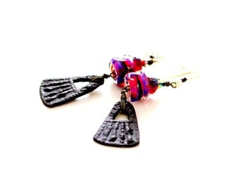 Rustic Boho Lampwork Bead Earrings. Black Artisan Charms. Ruby Red and Black Earrings.  Lampwork Glass Bead Jewelry. Gifts for Her.
