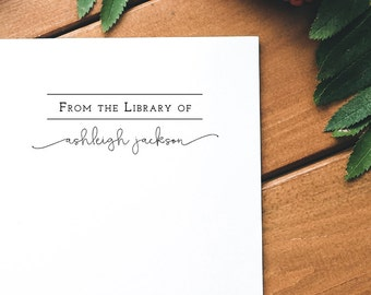 Book Stamp, Library Stamp - Style #02, Wood Mounted or Self-Inking Stamp, Gifts for Book Lovers, From the Library of, Wedding Gift