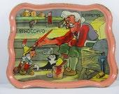 Vintage 1939 Walt Disney Productions Pinocchio Ohio Art Tin Toy Tea Tray