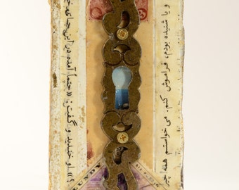 A Glimpse:  Original mixed media assemblage art by Leslee Lukosh of Foundturtle in Portland, Oregon, wall or shelf art, home decor