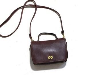 Vintage Coach Bag / Coach Casino Bag / Mini Coach Bag / Coach Satchel / Brown Leather Coach Purse