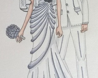 couples wedding dress and tuxedo sketch